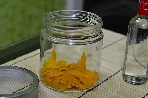 Orange zest in glass jar