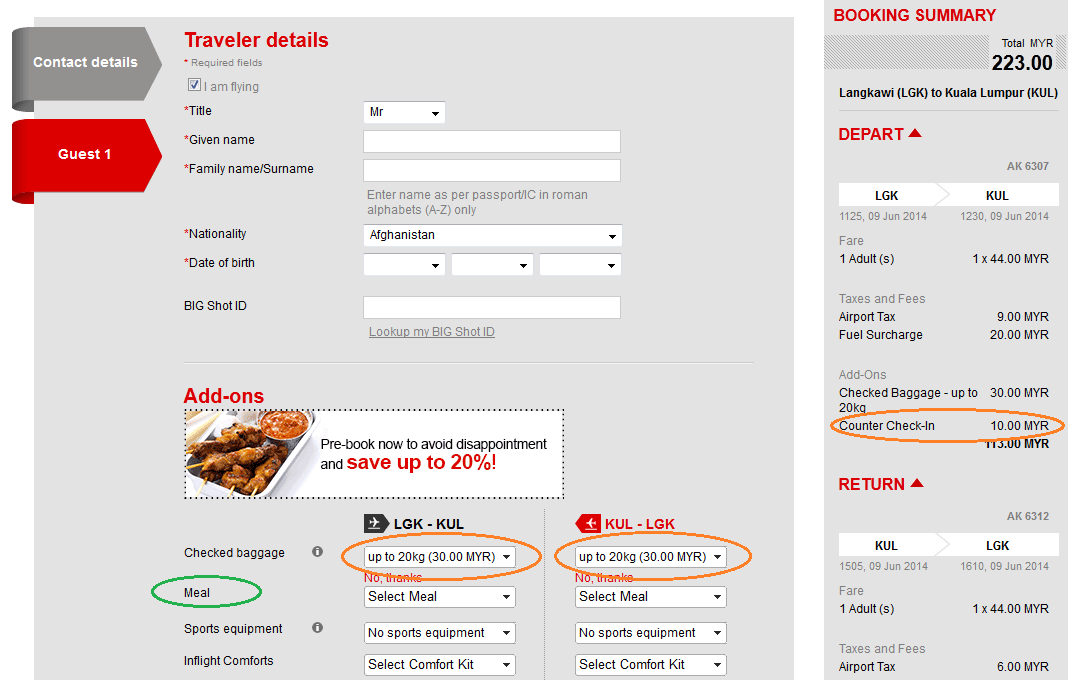 Airasia booking summary page