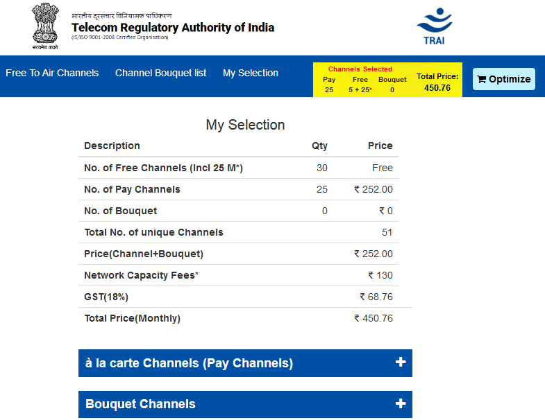 TRAI Channel Selector - My Selection